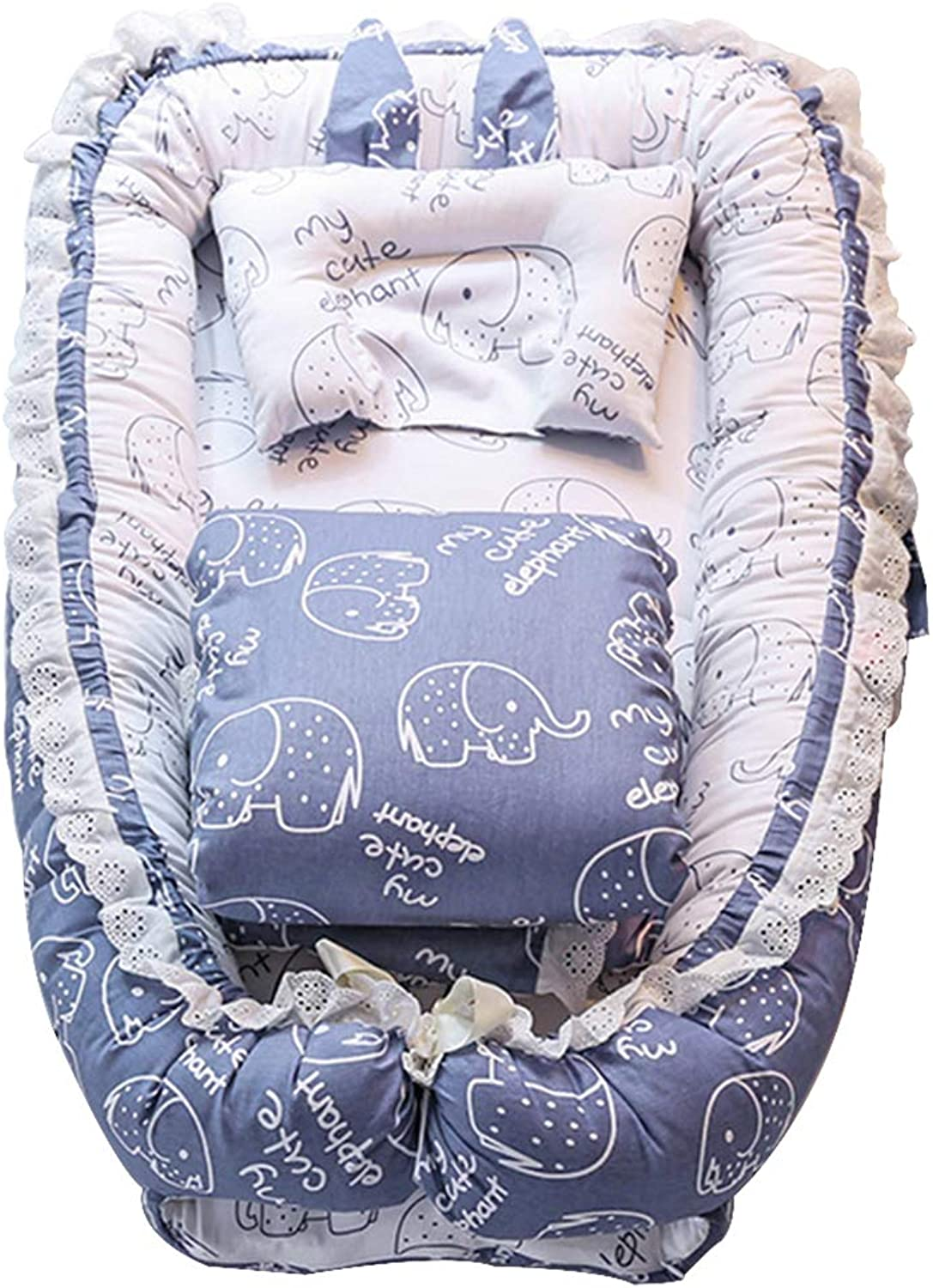 Portable Crib, Detachable Washable Cotton Baby Bedding, Cradle Safety Fence for 0-1 Years Old