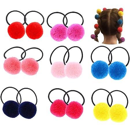 Assorted Color Fluffy Ball Pom Pom Hair Ties Handmade Hair Accessories