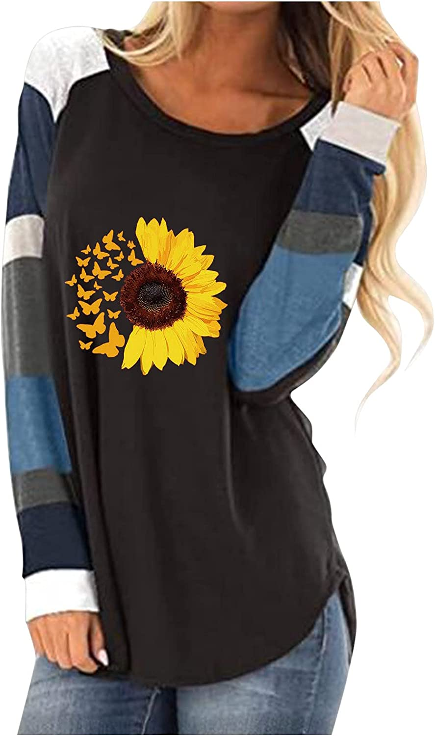 Womens Long Sleeve T Shirts Sunflower Graphic Loose Fit Crewneck Casual Blouse Tops