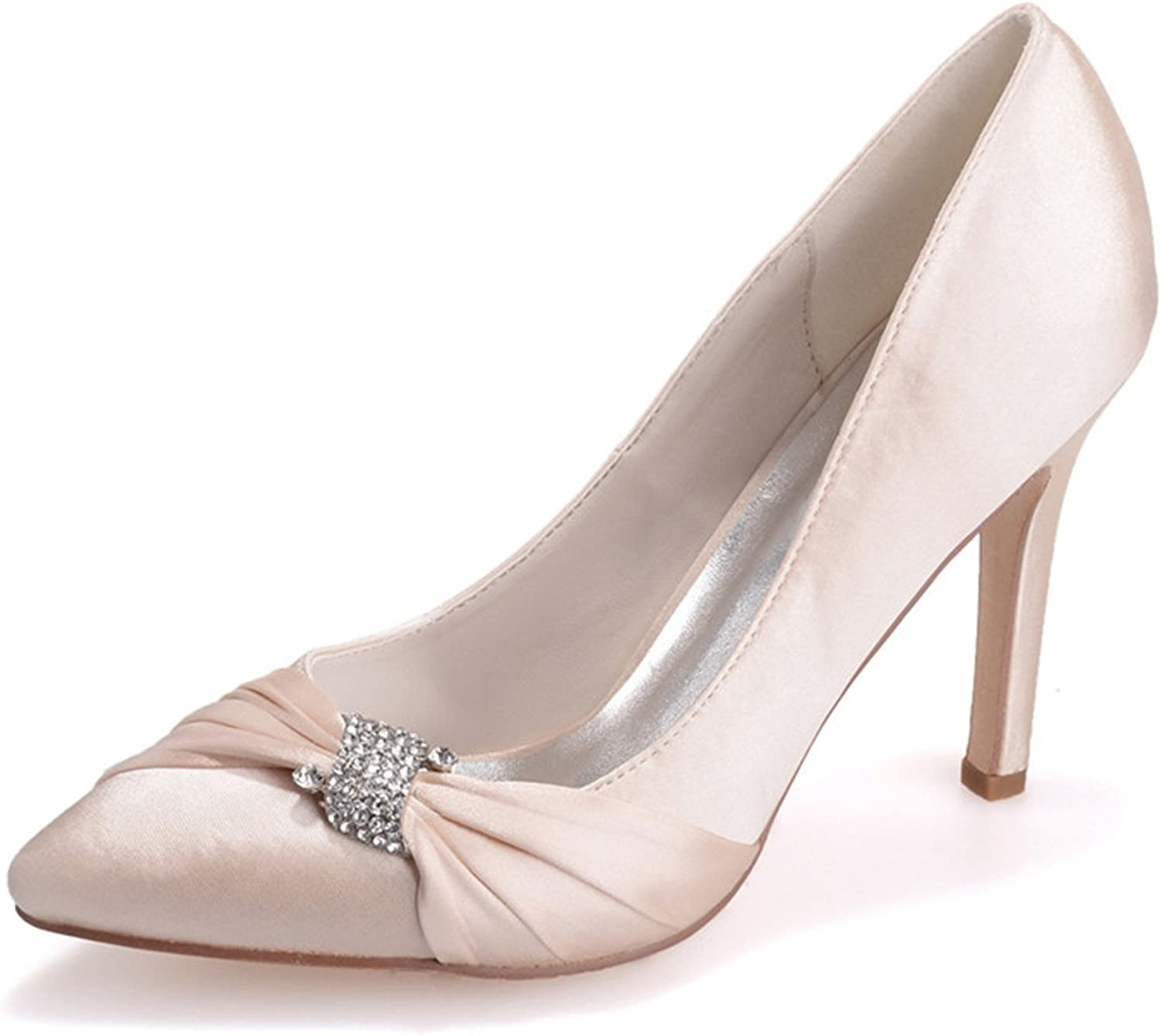 Sarahbridal Women's Pointed Toe High Heel Satin Wedding Prom Evening Pumps ZXF0608-23