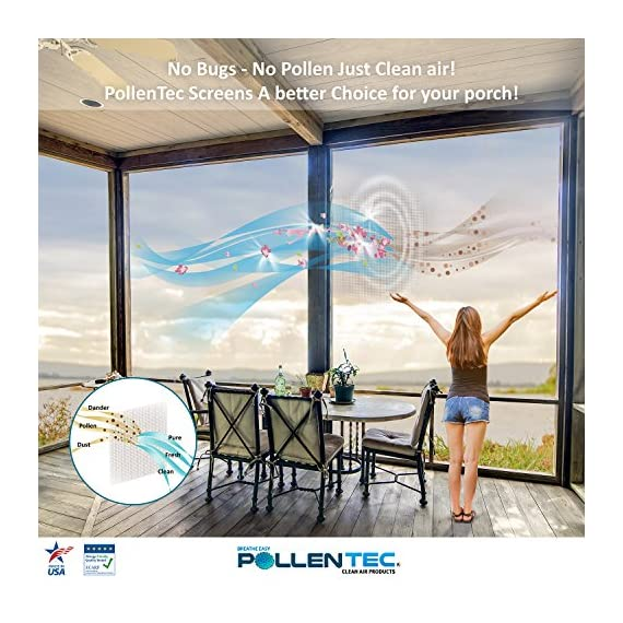 Pollentec clean air window screen air purifying filter material for cleaner healthier air inside your home roll size (21… 4 economical: our screens are easy to install and can be done on your own. If you are short on time, a local rescreening company will have no problem replacing your old screens with our clean air window screens. Say goodbye to running the a/c with closed windows and patio doors all spring along with the expensive energy costs associated with staying cool and pollen free. The science: pollentec is a high tech micron spun polymer screen possessing special triboelectric properties that electrostatically pulls and traps dust and pollen particles on its fibrous grid. The micron grid reduces visibility by 20% and air flow by 30%. Our screens are so effective that they have been tested, approved, and used in hospital clean rooms. Allergy certified: our clean air screens have been awarded a formal certification from the european center for allergy research foundation (ecarf). Our screens are proven to capture up to 98% of airbone pollen allergens and both large and small particles in the air such as household dust, pollen, dust-mite debris, mold spores, and pet dander. In addition, they are flame retardant and self-extinguishing certified (ul & fmvss302 certifications).