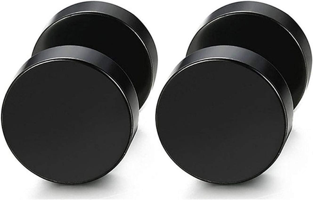 Sevenfly 6 Pairs Black Stainless Steel Polished Simple Fake Plugs Dumbbell Shape Piecing Screw Stud Earrings for Men(Black)