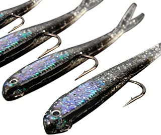Braceus 10Pcs Silicone Lead Head Jig Lures Hook Artificial Minnow Bait Fishing Tackle
