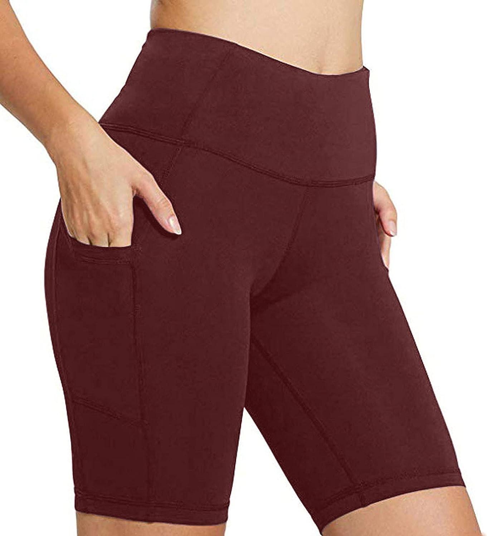 MIVAMIYA Womens Running Shorts,Womens 6 Inches High Waisted Biker Shorts Tummy Control Workout Leggings with Pockets