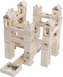 U.STAR 木製 ブロック スロープトイ 80pcs 積み木 ビー玉転がし 知育玩具 立体 パズル