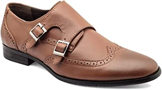 tresmode Men's Tan Brogue Monk Strap Casual Loafers