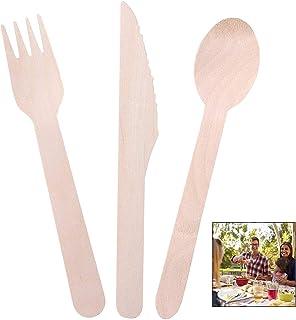 iPobie Cubiertos de Madera Desechables, 100% Natural, Ecológicos, y Biodegradables 30 Cucharas, 40 Tenedores, 30 Cuchillos, Elegante Alternativa al Plástico