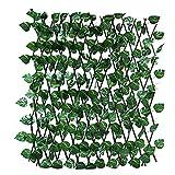 household items Pantalla de Valla de privacidad de Hiedra Artificial de 120 cm, Valla de Madera de Hoja Artificial retráctil de balcón, Utilizada para jardín al Aire Libre, decoración de Patio