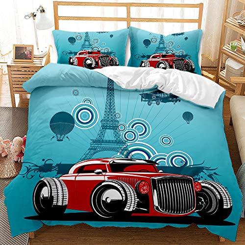 Probuk Ropa de cama de coche, vintage, retro, clásica, con diseño de la Torre Eiffel, funda nórdica 100% microfibra, ropa de cama y funda de almohada (A-05,200 x 200 cm (50 x 75 cm)