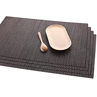 Placemats Skid Resistant Placemats Heat-resistant Placemats Washable Placemats Woven Placemats ,Set of 4(Brown)