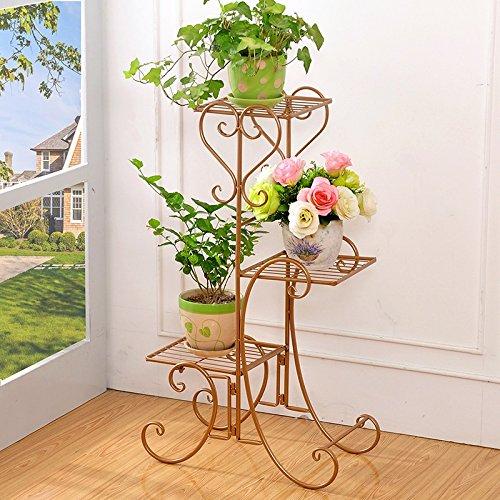 Yu Chuang Xin Cadre de fleur de style européen Fer salon à plusieurs étages Chlorophytum vert feuille étagère balcon étage fleur étage cadre fleur étage étagère noir brun blanc (Couleur : Marron)