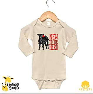 Farm shirt farm Baby Infant Onesie Body Suit New To the Herd Cattle cow shirt