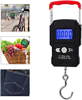 Hamkaw Fish Scales Digital Weight Luggage Scale, 110lb/50kg Electronic Balance Digital Fishing Postal Hanging Hook Scale - 4 Units Retractable Handle Backlit LCD Display for Home & Travel Used