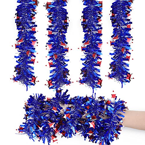 Nuolich 4 Pack Independence Day Tinsel Garland Patriotic Decorations 4th of July Blue Red White Star Metallic Home Party Tree Hanging Decor