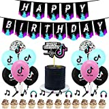 BAIBEI Tik Tok Cappello da festa di compleanno Tik Tok Palloncino TIK Tok Buon compleanno Banner Cake Topper Cake Music Cake Topper, TIK Tok Festa a tema Borsa regalo (48 pcs)