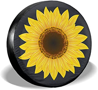 Jackmen Spare Tire Cover Sunflower Polyester Universal Sunscreen Waterproof Wheel Covers for Jeep Trailer RV SUV Truck and Many Vehicles (14