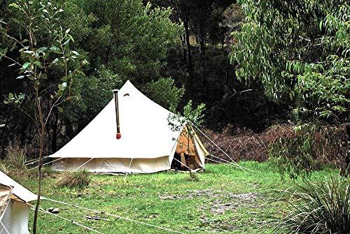 TentHome Campingzelt Wasserdicht Tipi Zelt Familienzelt Pyramidenzelt Baumwolle Indianerzelt mit Ofenloch, Bodenwanne Glockenzelt Bell Tent Rundzelt Gruppenzelt Stehhöhe, beige (3M/9,8Fuß)