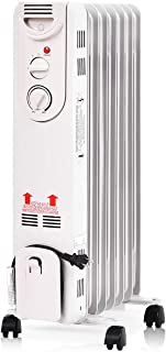 Tangkula Oil Radiator, 1500W Portable Compact Electric Space Heater with Adjustable Thermostat, Tip Over and Overheating Protection, Quiet Safe Oil Filled Radiator for Home and Office, Oil Heater