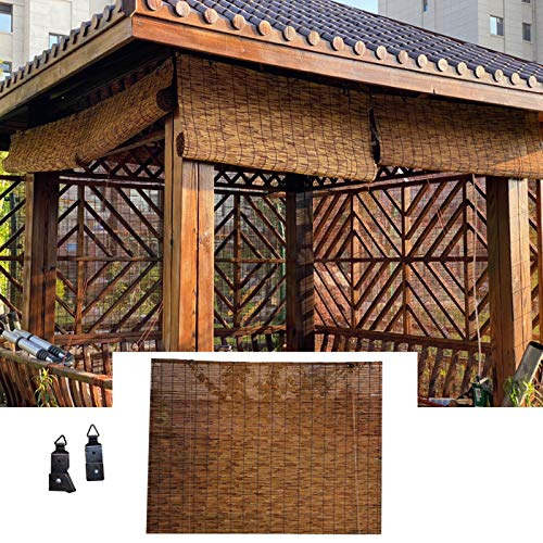 L-KCBTY Cortina Bambu Natural para Interior Y Exterior, Persiana Enrollable De Bambú para Cocina Y Terraza, Persianas De Caña con Polea, Múltiples Tamaños Personalizable