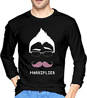 Bloonmer Men Comfortable Long Sleeve T Shirt Unique Design with Markiplier Warfstache Logo