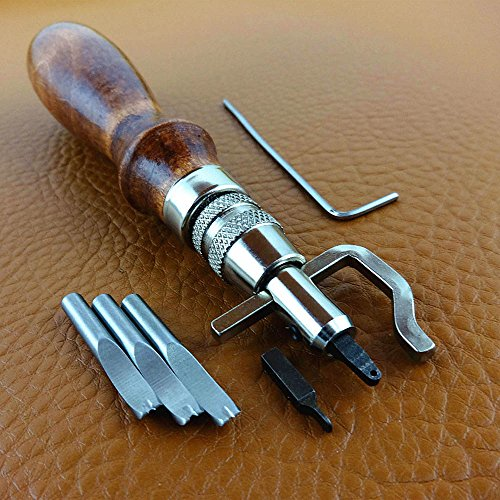 AMTION Multi-Function Excavated 7- in-1 Adjustable Swappable Bits for Creasing Edge Beveler Leathercraft Precision Tools…