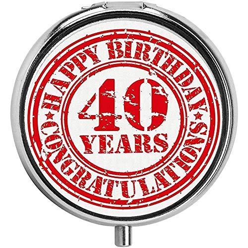 Gedateerd oud rubber stempel met nummer 40 felicitatie bericht grungy look aangepaste pil case dagelijks cadeau 3 compartiment pil doos
