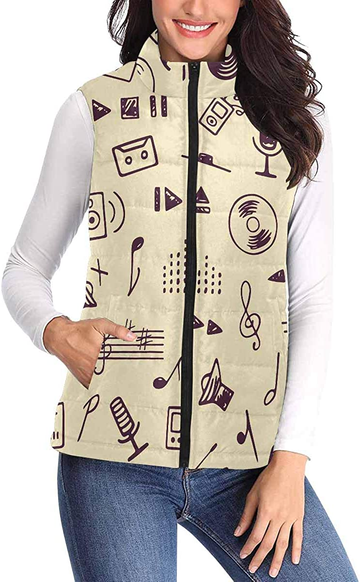 InterestPrint Women's Quilted Puffer Vest Warm Winter Vest with Zipper Musical and Recording Signs