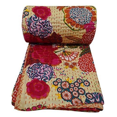 """Preisvergleich Produktbild Handicrunch 100% Baumwolle Quilt Blumenmuster Beige Wohnkultur Kantha Reverssible Tagesdecke Queen Size Stich Gudri 101 """"x 91 """" Zoll"""