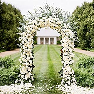 BalsaCircle White Decorative Metal Wedding Arch for Ceremony Outdoor Indoor Bridal Party Photo Booth Decorations