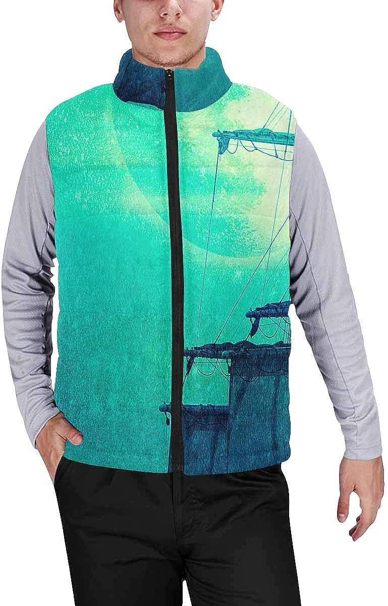 InterestPrint Men's Casual Sleeveless Coats with Personality Design Shetland Sheepdog in Winter
