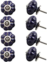 Indian-Shelf Handmade Ceramic Solid Drawer Knobs Dresser Pulls Wardrobe Handles(Blue, 1.75 Inches)-Pack of 8