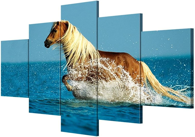 Leinwandbilder moderne Wandkunst Pferd Bild Leinwand Leinwand Leinwand Dekoration Zimmer Wandmalerei (5 Blätter   Set) , With Borders , GrößeA B076N332BN       Treten Sie ein in die Welt der Spielzeuge und finden Sie eine Quelle des Glücks  baa56c