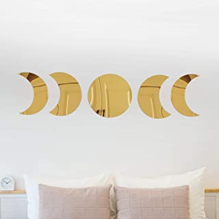 Moon Phases Wall Decor Nordic Style Crescent Moon Boho Wall Mirror Stickers Art Decorations for Home Nursery Bedroom (Gold)