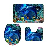 HUGS IDEA 3 Piece Bath Mat Rug Set Soft Skidproof Toilet Seat Cover Bath Mat Lid Cover (Ocean World Dolphin Tropical Fishes Swim in The Deep Ocean)