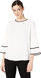 Calvin Klein Womens M9BAT559 Flare Sleeve Blouse Long Sleeve Shirt