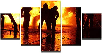 HPPTON 5 piece canvas HD Fireman Fire Fighting Hero Canvas picture painting room decor print poster wall art -4x6/8/10inch,Without frame