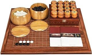 Luckyw Kinesiskt schackset, vuxen nybörjare massivt trä dubbelsidig schackbräda