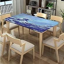 Elastic Edge Dinning Tabletop Decoration , Big Tsunami Ocean Nature Pattern printing, Elastic on The Corner Rectangular Polyester Tablecloth Fits Rectangular Tables:96