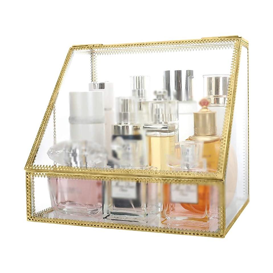 ガラス 化粧品収納ボックス 職人技 防塵 フリップカバー スキンケア デスクトップ 仕上げボックス 非アクリル ジュエリースタンド 金色の傾斜屋根