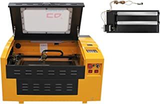 TEN-HIGH Upgraded Version CO2 40W 110V 300x400mm Laser Engraving Cutting Machine with USB port, Include rotary axis.