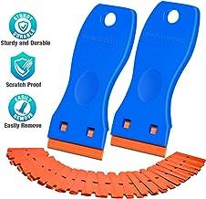 Plastic Razor Blade Scraper, 2 Pack Scraper Tool with 100 Pack Plastic Razor Blades Decal..