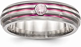 Edward Mirell Titanium Triple Groove Pink Anodized & Pink Sapphire Ring