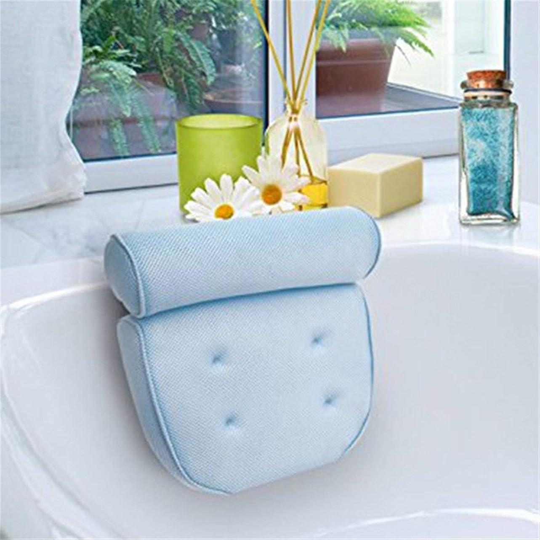 ジョージハンブリー簡単に花に水をやるInlagom お風呂 まくら 枕 バスピロー 吸盤 滑り止め付 バスタブ 浴槽用 浴用品 肩こり リラックス 安眠 抗菌 ホワイト 青