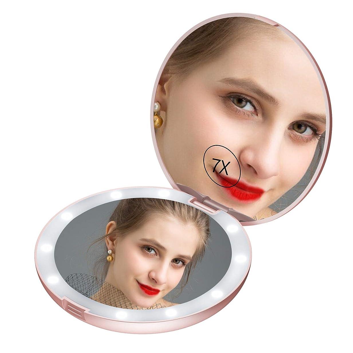申し立てる動バリーledミラー コンパクト led鏡 手鏡 コンパクト 女優ミラー 携帯 女優ミラー コンパクト 両面コンパクトミラー 化粧鏡 7倍拡大鏡 折りたたみミラー コンパクトミラー Gospire