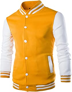 RUEWEY Mens Button Front Slim Fit Warm Sweatshirt Baseball Varsity Jacket