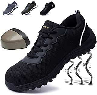 Git-up Mens Work Safety Steel Toe Shoes Non-Slip Puncture Proof Shoes Sneakers Breathable Lightweight Industrial & Construction Shoe