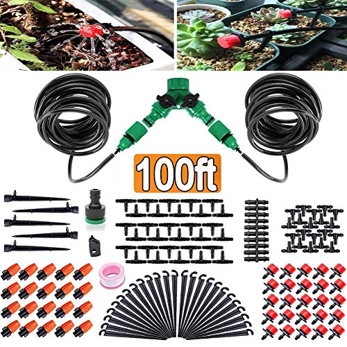 FAMI HELPER 100ft/30M Garden Irrigation Kit - DIY Plant Watering Drip Sprinkler System with 2-Way Hose Splitter, 1/4' Tubing Hose, 45Pcs Adjustable Emitters for Greenhouse