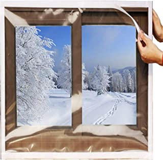 SES.CO Reusable Transparent Indoor Window Insulation Kit,Heavy Duty Weatherproof Insulator for Summer & Winter,48