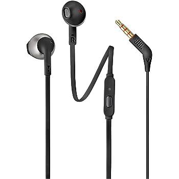 JBL Tune 205 Pure Bass Metal Earbud Headphones with Mic (Black)