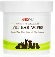 MedPal Professional Pet Ear Cleansing Wipes for Dogs and Cats - Dog Ear Wipes Used to Stop Itching, Prevent Mites, Yeast & Ear infections. - Advanced Formula! - 100 Count